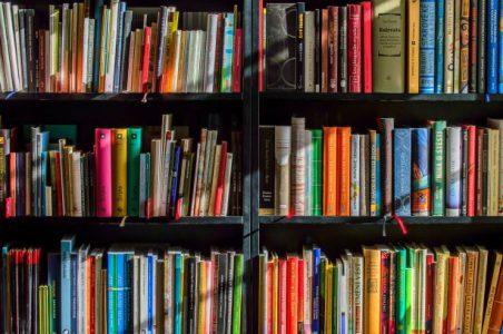 Bokhylla fylld till bredden av böcker.