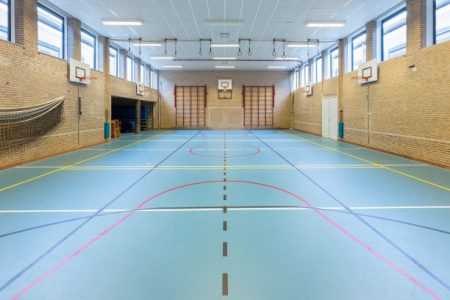 En idrottshall med olika linjer i golvet för olika sporter. Klätterställningar på väggarna samt basketkorgar.