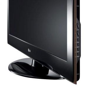 En svart platt TV.