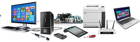Bärbar dator och fast dator, skrivare och andra datortillbehör.