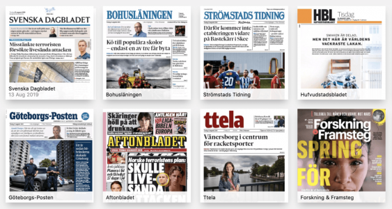 Urval av tidningar på Press Reader