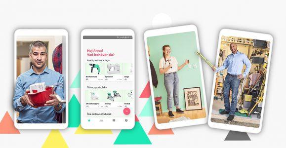 Tre telefoner med olika bilder av personer som vad som kan lånas ut. En telefon med en bild av startsidan av appen.