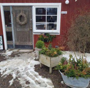 Dörr till rött hus med odlingslådor framför