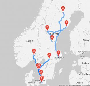 Karta över Sverige med olika kartnålar