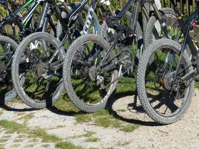 4 Svarta mountainbikes bakhjul och bakskärm som står på gräs eller grus.