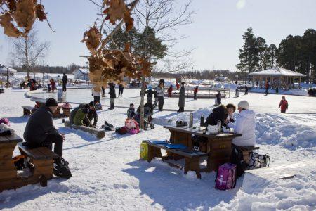 Isrink utomhus. Naturen runt är snötäckt. Runt isrinken finns bord där människor vilar och fikar. Solen skiner och himlen är blå.